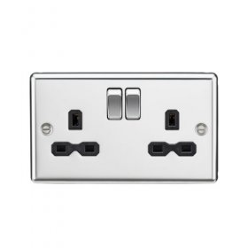 Knightsbridge Polished Chrome 13A Double Switched Socket CL9PC
