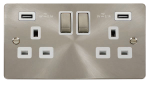 Click Define Brushed Steel Twin USB Double Socket FPBS580WH
