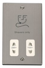Click Deco Stainless Steel Dual Voltage Shaver Socket VPSS100WH