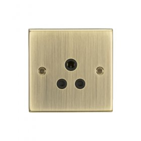 Knightsbridge Antique Brass 5A Unswitched Round Socket CS5AAB