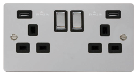 Click Define Polished Chrome Twin USB Switched Socket FPCH580BK
