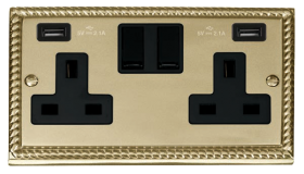 Click Deco Georgian Brass Twin USB Double Socket GCBR780BK