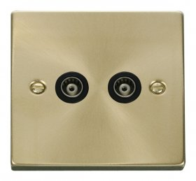Click Deco Satin Brass Twin Isolated Coaxial Socket VPSB159BK