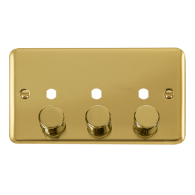 Click Deco Plus 3 Gang Empty Dimmer Plate & Knobs DPBR153PL