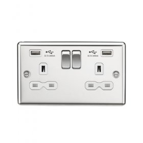 Knightsbridge Polished Chrome Dual USB Double Socket CL9224PCW