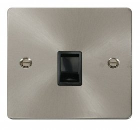 Click Define Brushed Steel RJ11 Socket FPBS115BK