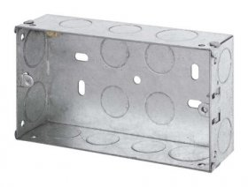 2 Gang 35mm Deep Galvanised Knock Out Box