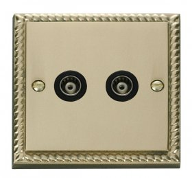 Click Deco Georgian Brass Twin Isolated Coaxial Socket GCBR159BK