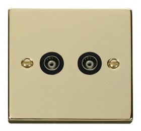 Click Deco Polished Brass Twin Isolated Coaxial Socket VPBR159BK