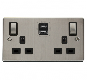 Click Deco S/Steel Type A & C USB Double Socket VPSS586BK
