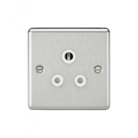 Knightsbridge Brushed Chrome 5A Unswitched Round Socket CL5ABCW