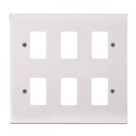 Click Polar White 6 Gang Grid Pro Front Plate PRW20506