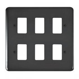 Click Deco Plus B/Nickel 6 Gang Grid Pro Front Plate DPBN20506