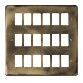 Click Deco Plus Ant/Brass 18 Gang Grid Pro Front Plate DPAB20518