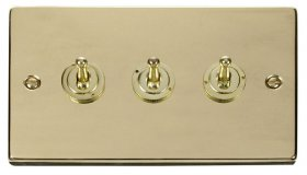 Click Deco Polished Brass 3 Gang 2 Way Toggle Switch VPBR423