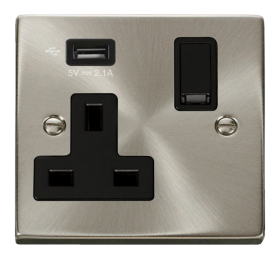 Click Deco Satin Chrome USB Single Switched Socket VPSC771UBK