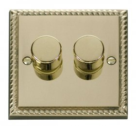 Click Deco Georgian Brass 2 Gang 2 Way Dimmer Switch GCBR152