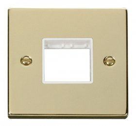 Click Deco Polished Brass Single Plate 2 Gang Aperture VPBR402WH