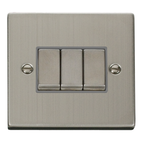Click Deco Stainless Steel 3 Gang 2 Way Switch VPSS413GY