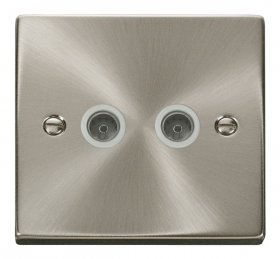 Click Deco Satin Chrome Twin Non-Isolated Coax Socket VPSC066WH