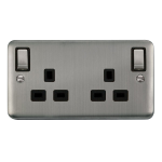 Click Deco Plus 13A Double Switched Socket DPSS836BK