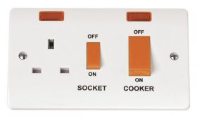 Click Mode 45A Cooker Switch + 13A Switched Socket + Neon CMA205