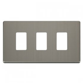 Click Definity S/Steel 3 Gang Grid Pro Front Plate SCP20403SS