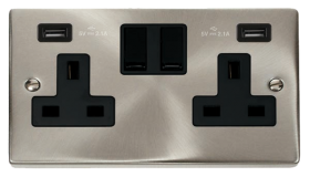 Click Deco Satin Chrome Twin USB Double Socket VPSC780BK