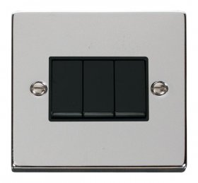 Click Deco Polished Chrome 3 Gang 2 Way Switch VPCH013BK