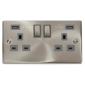 Click Deco Satin Chrome Twin USB Double Socket VPSC580GY