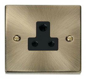 Click Deco Antique Brass 5A Single Round Pin Socket VPAB038BK