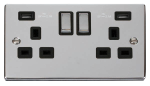 Click Deco Polished Chrome Twin USB Double Socket VPCH580BK
