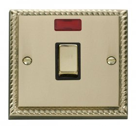 Click Deco Georgian Brass 20A Double Pole Switch Neon GCBR723BK