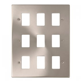 Click Deco Satin Chrome 9 Gang Grid Pro Front Plate VPSC20509