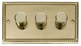 Click Deco Georgian Brass 3 Gang 2 Way Dimmer Switch GCBR153