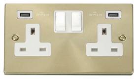 Click Deco Satin Brass Twin USB Double Socket VPSB780WH
