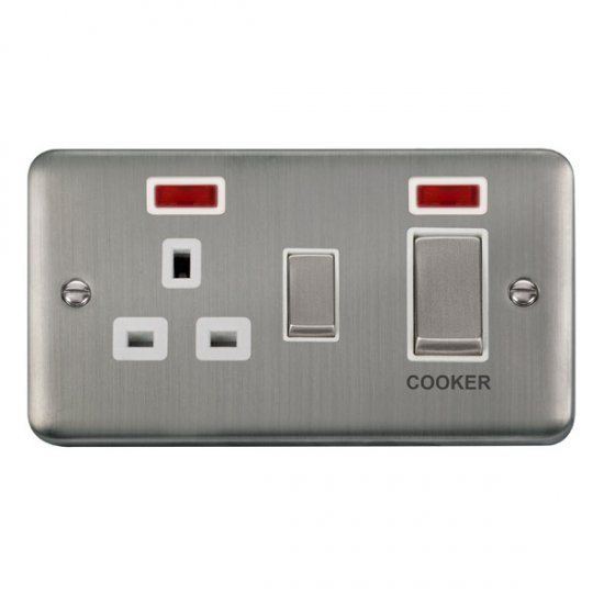 Click Deco Plus 45A DP Switch with 13A Outlet Neon DPSS505WH