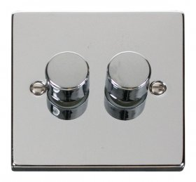 Click Deco Polished Chrome 2 Gang 2 Way Dimmer Switch VPCH152