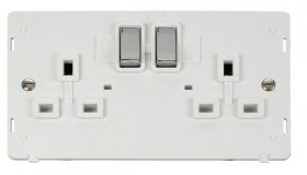 Click Definity 2 Gang Switched Socket Outlet Insert SIN536PWCH