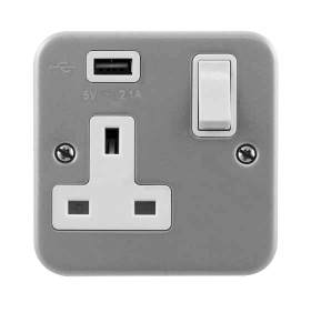 Click Metal Clad USB 1 Gang Switched Socket CL771U