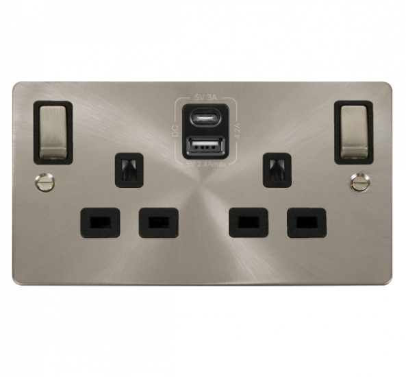 Click Define B/Steel Type A & C USB Double Socket FPBS586BK