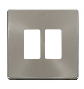 Click Definity B/Steel 2 Gang Grid Pro Front Plate SCP20402BS