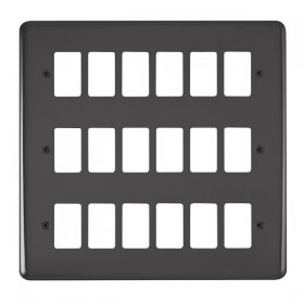 Click Deco Plus B/Nickel 18 Gang Grid Pro Front Plate DPBN20518