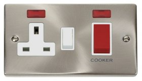 Click Deco Satin Chrome 45A DP Switch and Socket Neon VPSC205WH