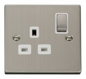 Click Deco Stainless Steel 13A Single Switched Socket VPSS535WH