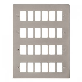 Click Define Pearl Nickel 24 Gang Grid Pro Front Plate FPPN20524