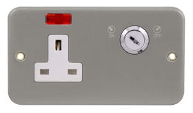Click Metal Clad 13A 2 Gang Key Lockable Socket with Neon CL675
