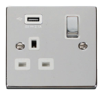 Click Deco Polished Chrome USB Single Switched Socket VPCH571UWH