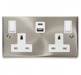 Click Deco Satin Chrome Type A & C USB Double Socket VPSC786WH