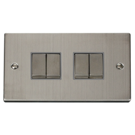 Click Deco Stainless Steel 4 Gang 2 Way Switch VPSS414GY
